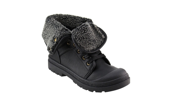 BestonGF84 Women Folded Lug Sole Ankle High Booties Half Size Small