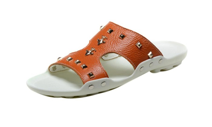 Unisex Summer Leather Rivets Design Shoes