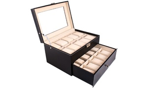 20 Slot Watch Collection Box Leather Display Case Organizer