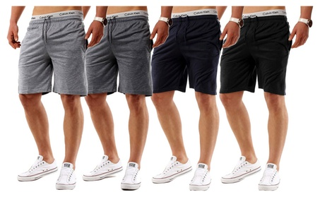 Men's Casual Classic Fit Cotton Elastic Gym Shorts