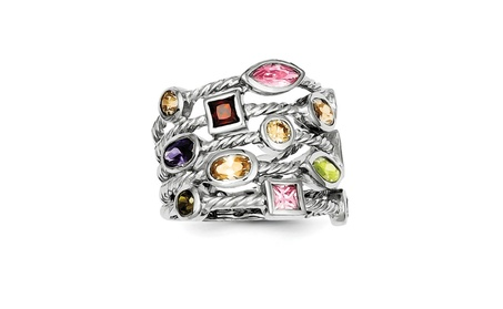 Sterling Silver Rhodium Plated Multi-Color Gem Multi-Shaped Bezel Set 75fede1c-a646-4c8a-b2cf-1e5ed7a13e5f