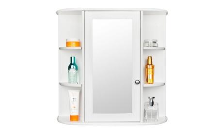 Wall Mount Bathroom Cabinet Storage Organizer with Mirror 3-tier Shelf