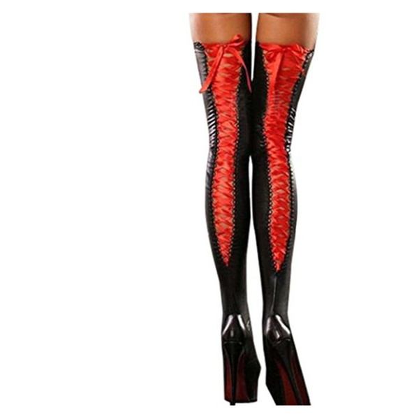 8d4be381c85e0 Red Women Thigh-high Sockings Sexy Leather Lace Bow Lady Long Socks |  Groupon