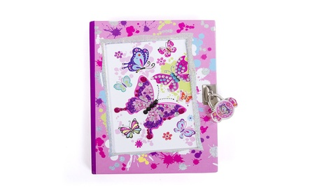 """Secret Diary with Lock - Kids 7"""" Butterfly 300 Page Journal and Keys 60020cca-5894-461e-8692-c2c5810ed292"""