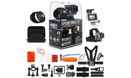 SportPro 4K UHD Wifi Touch Screen Action Camera with 20 Piece Premium Accessory Bundle