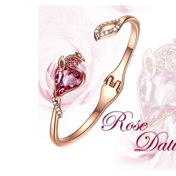 6b23de131 Rose Lover Bracelet Made with Pink Heart Shape SWAROVSKI Crystal ...