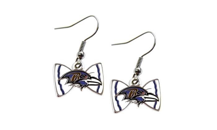 NFL Sports Team Logo Bow Tie Dangle Earring
