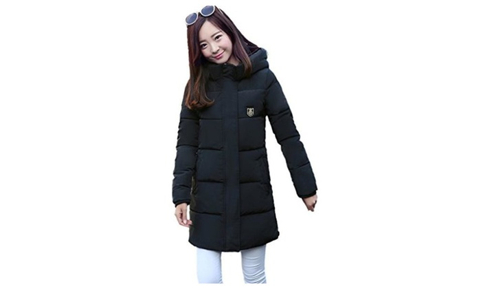 Smile YKK Womens Korean Padded Jacket Mid-Length Cotton Coat Outerwear