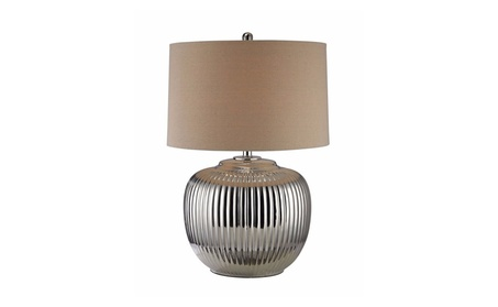 Trump Home Oversized Ribbed Ceramic Table Lamp in Silver ca6b1cb8-96db-434b-ac98-02e65b4bb51b