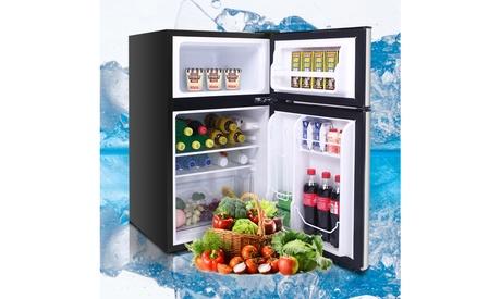 ZOKOP 115V/60Hz 90L/3.2CU. FT Household Refrigerator Double Doors Black