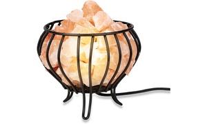 Zennery Himalayan Salt Wrought Iron Bowl Shaped Basket Lamp
