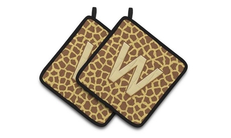 Carolines Treasures CJ1025-WPTHD Monogram Initial WGiraffe Pair of Pot Holders 7 photo