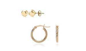 Pk1 or Pk2 14K Solid Gold Ball OR Hoop Earrings by Moricci