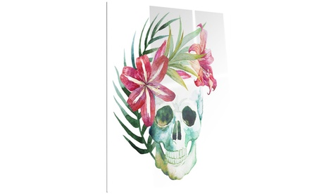 Watercolor Skull with Flowers Floral Metal Wall Art 12x28 1777c2bc-2124-4ca9-93fb-c05496a06552