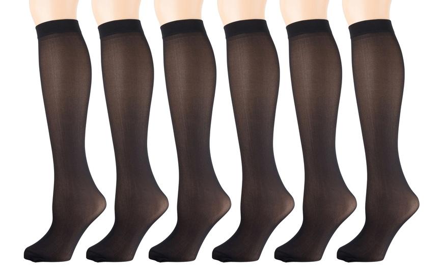 12 Pairs Womens Opaque Spandex Trouser Knee High Socks-NavyB