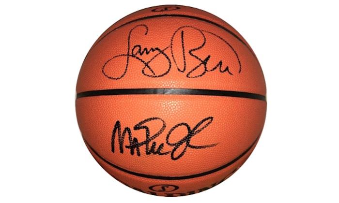 size 40 e184f a9204 Magic Johnson & Larry Bird Autographed Basketball - Lakers & Celtics