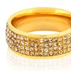 Gold Plated Stainless Steel Champagne Crystal Ring