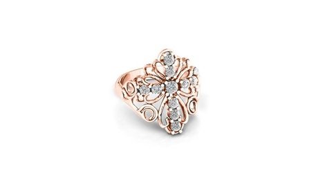 Floral Cross Crystal Ring Made With Crystals From Swarovski