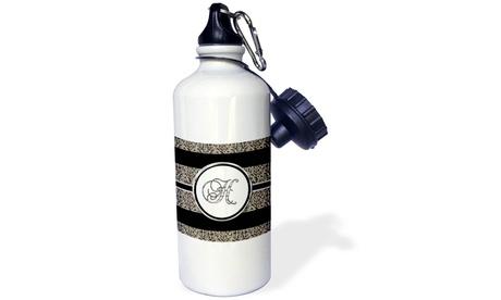Water Bottle Elegant Black White Ocelot Animal Print Monogram Letter H photo