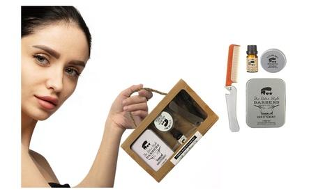 Men Barber Kit Boxed Four-Piece Set Retro Hair Style Comb Oil
