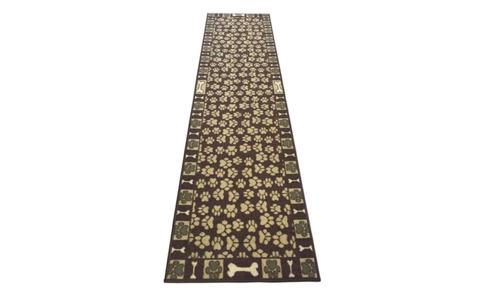 Antibacterial Skid Resistant Brown Pet Paw Runner Rug