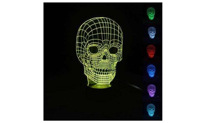 3D Illusion Bulbing Skull Night 7 Color Change Touch Switch Desk Light