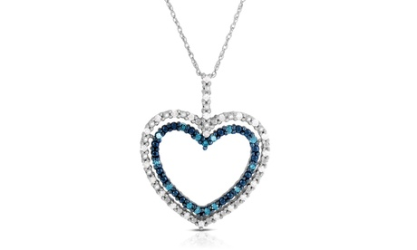 1/2 Cttw Blue and White Diamond Heart Pendant in Sterling Silver 4d9d3100-eb09-42a2-be63-9bea5dd84166