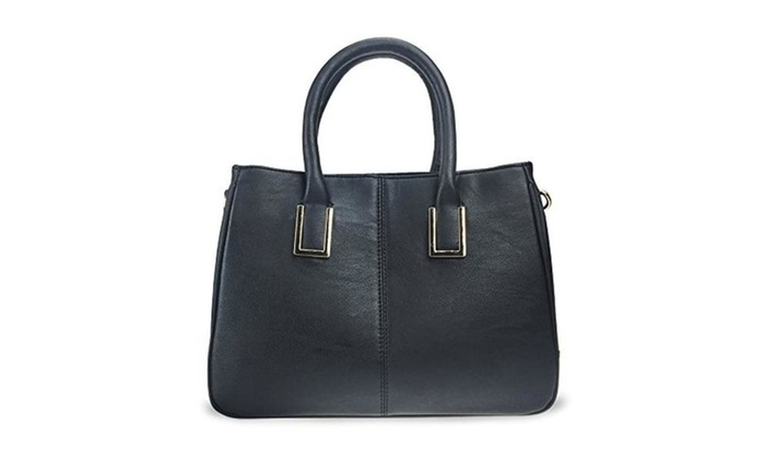 Classical Office Lady Minimalist Pebbled Faux Leather Handbag Tote