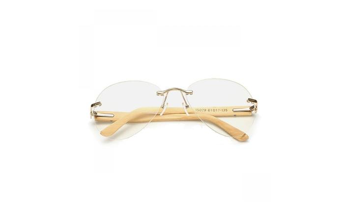 Unisex Anti-UV Retro Bamboo Large Frame Sunglasses