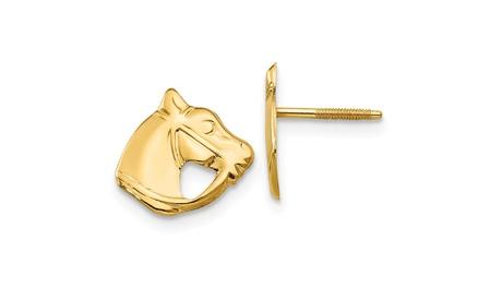 14k Yellow Gold Children's Horse Head Post Earrings
