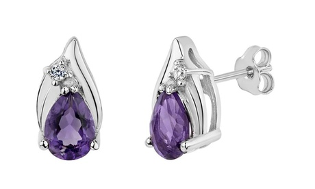 Sterling Silver Genuine Gemstone and Created White Sapphire Pear Shaped Earrings 247a8b76-4c2c-4022-9b50-df837f22a3f8