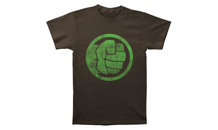 T Shirt Marvel Incredible Hulk Fist Bump Adult Groupon