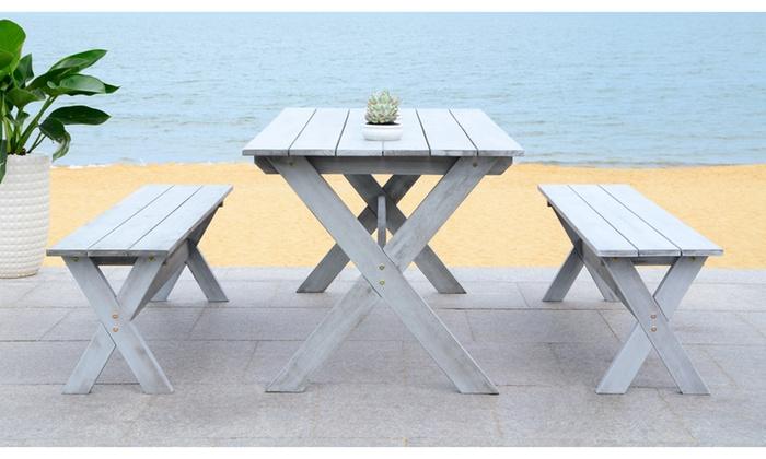 Amazing Safavieh Marina Outdoor Table And Bench Set 3 Piece Groupon Machost Co Dining Chair Design Ideas Machostcouk
