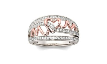 Women Heart Mom Ring Rose Gold Seperate Mother's Day Gift Ring