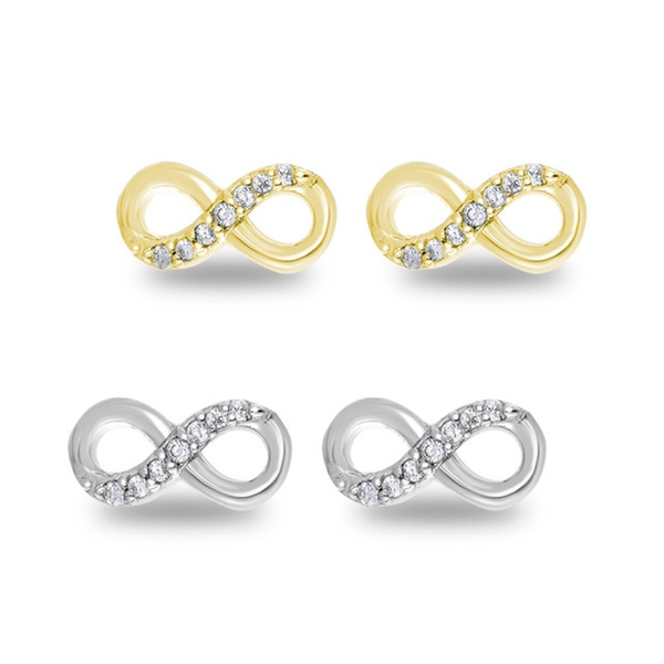 be35e24eb 925 Sterling Silver Half Set CZ Infinity Stud Earrings | Groupon