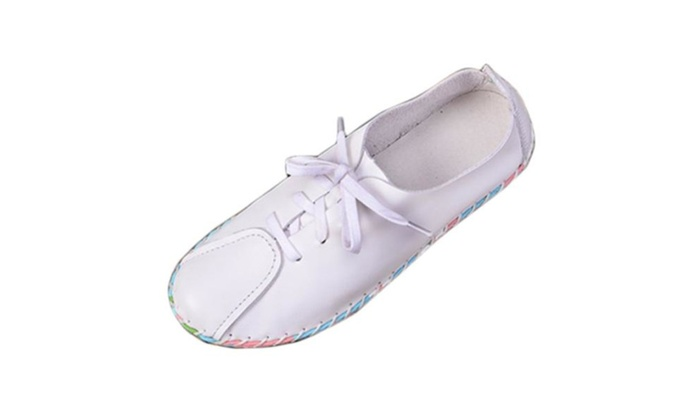 Women's Round Toe Cattlehide Flats Shoes