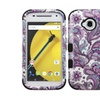 Insten Tuff Flower Hard Hybrid Case For Motorola Moto E 2nd Gen Purple