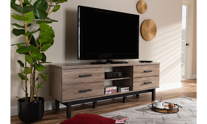 Arend Two Tone Oak And Ebony Wood Tv Stand Groupon