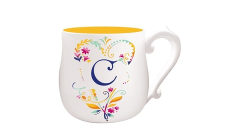 Floral-Print Monogram Ceramic Cup. Multiple Options Available. photo