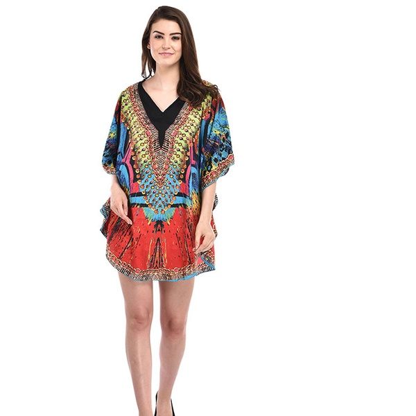 Orange Plus Size Tunic Dress for Women Casual Short Caftan Kaftan Ladies  Kimono