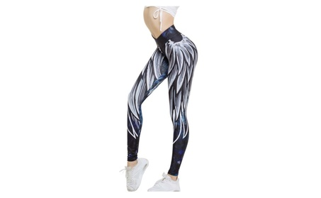 Angel Wings Pattern Workout Leggings Yoga Pants 9525cebf-89ad-421e-b3e6-ac275f6067e5