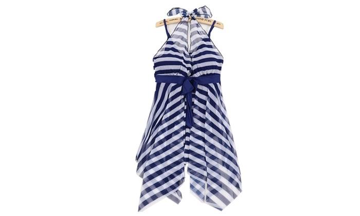 Women Blue White Stripes Swim Dress Swimwear One Piece Swimsuit