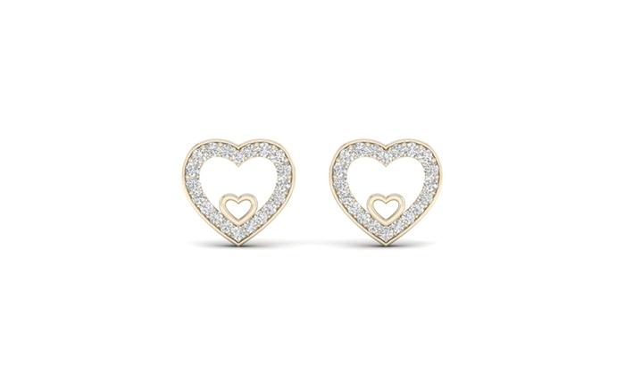 De Couer 10k Yellow Gold 1 8ct Tdw Diamond Heart Stud Earrings I J