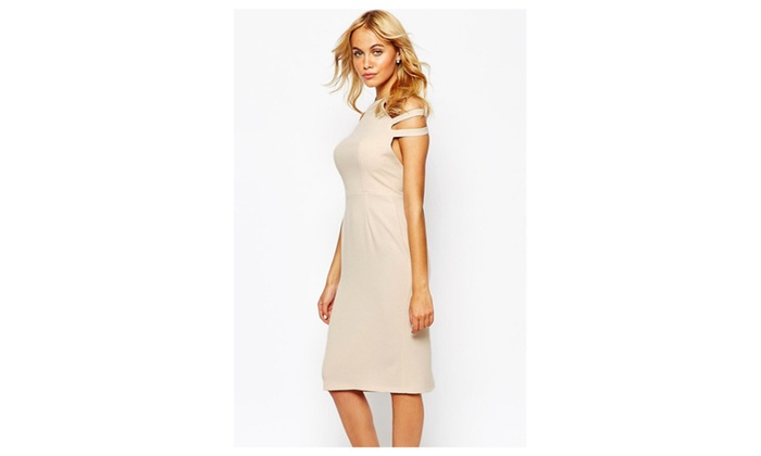 Women's Love Pleated Pencil Dress with Cut out Shoulder - one size