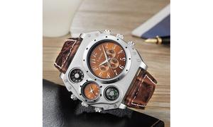 Laromni Men's Dual-Clock Military Watch