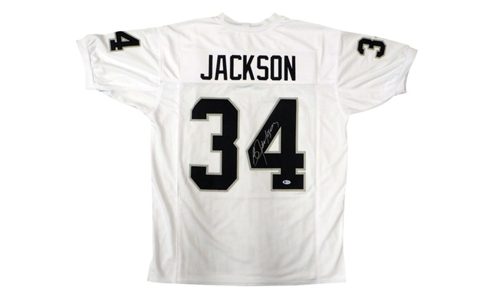 buy popular 6080b eb399 Autographed Bo Jackson Oakland Raiders White Custom Jersey