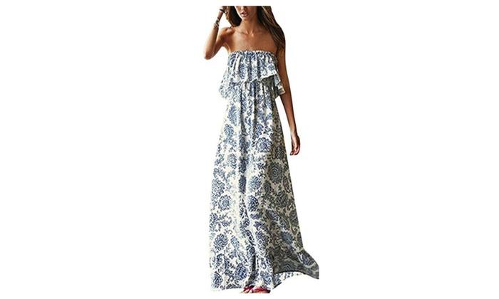 Women Summer Blue and White Porcelain Strapless Boho Maxi Long Dress