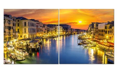 "Split Canvas Art Set 24""x 24"" 2 Pieces Venice At Night e3c1aacf-9bc0-4933-afe7-6341d9402104"