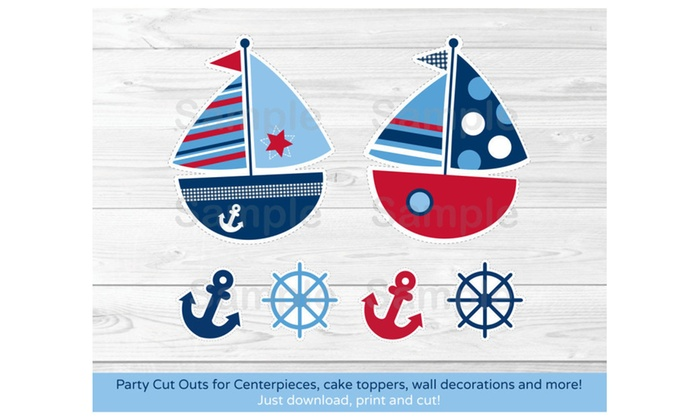 picture about Sailboat Printable known as Nautical Sailboat Blue Crimson Occasion Cutouts Decorations Printable