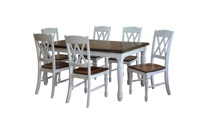 Beau Monarch Rectangular Dining Table And Six Double X Back Chairs | Groupon